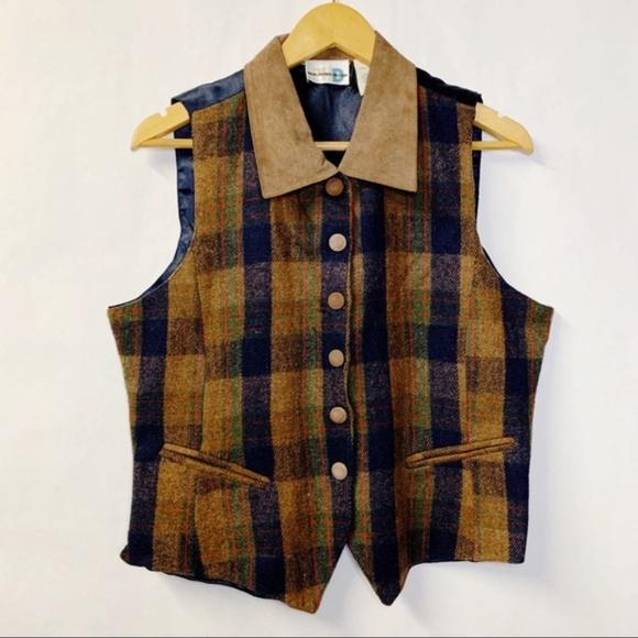 Vintage Wool Leather Check Plaid Waistcoat M